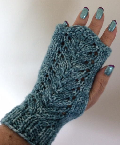 Fingerless Gloves Knitting Pattern For Toddlers : Lacy Vine Fingerless Gloves AllFreeKnitting.com