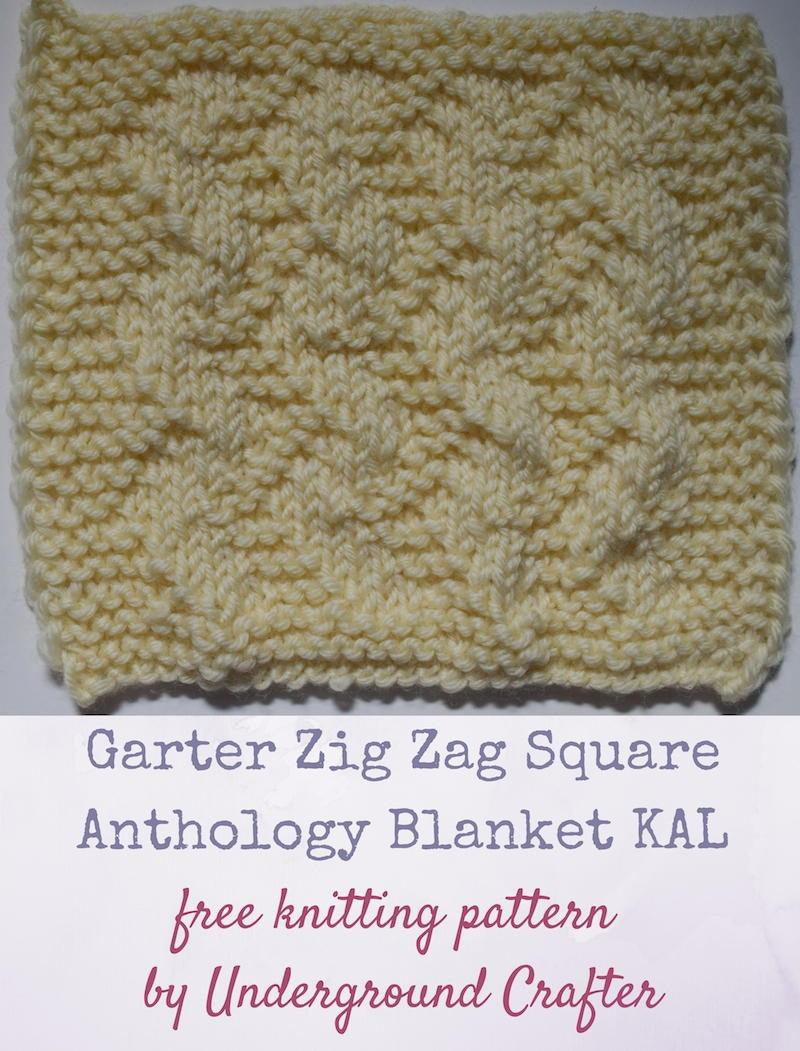 Garter Zig Zag Square AllFreeKnitting.com