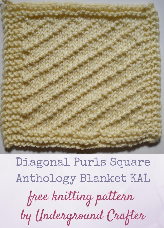 Diagonal Purls Square Allfreeknitting Com
