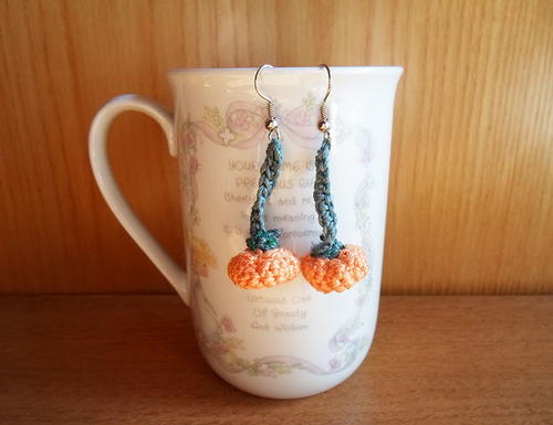 Adorable Pumpkin Crochet Earrings
