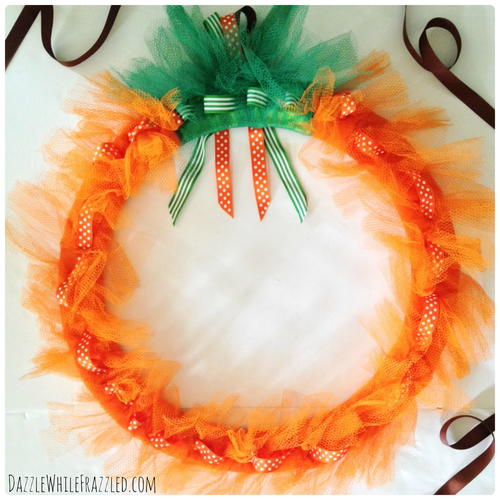 Make a Mesh Pumpkin Wreath