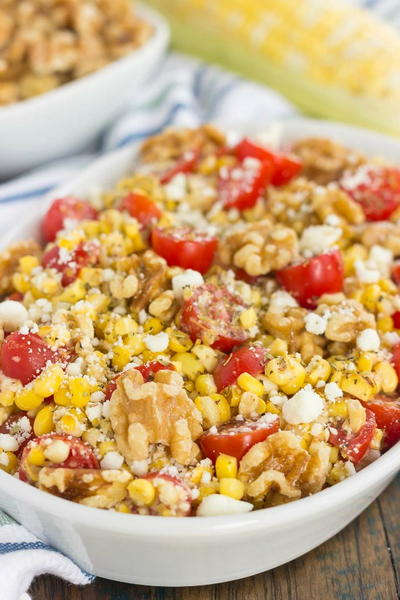 Grilled Garlic Herb Corn and Tomatoes with Walnuts