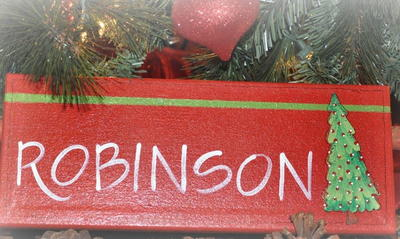 Christmassy Cork Hand Painted Sign