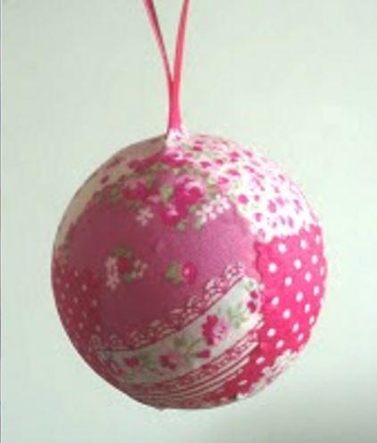 Fabulous Fabric Patch Ball Ornament