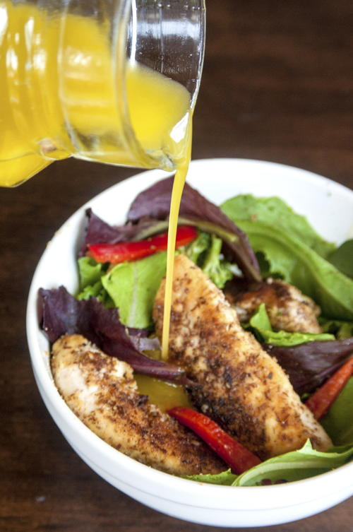 Chicken Tenders Salad with Honey Mustard Dressing