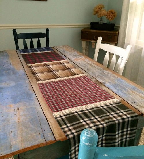 Fabulous Flannel and Lace DIY Table Runner