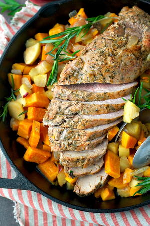 Roasted Pork Tenderloin with Apples and Sweet Potatoes