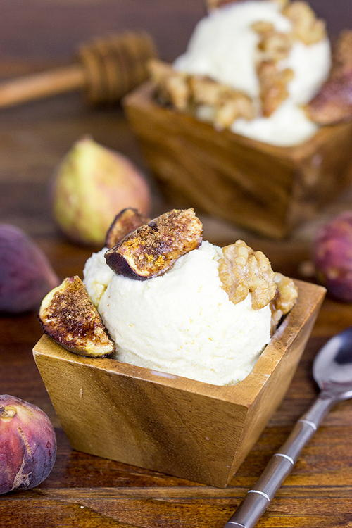 Honey Ice Cream with Roasted Figs