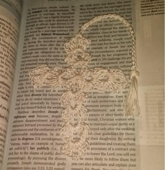 graceful christmas crochet cross bookmark