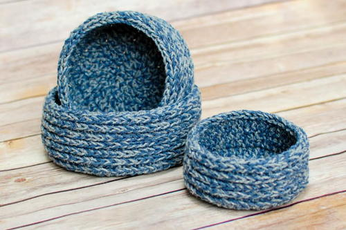 Chunky Nesting Baskets Crochet Pattern