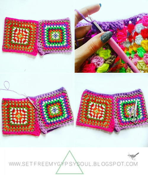Granny Square Crochet Shorts