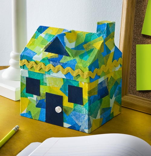 Faux Stained Glass Tissue Paper House