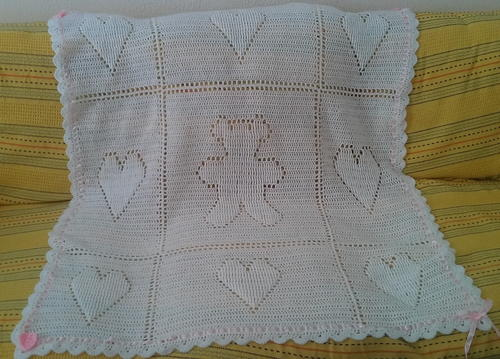 Teddy and Hearts Baby Blanket_2