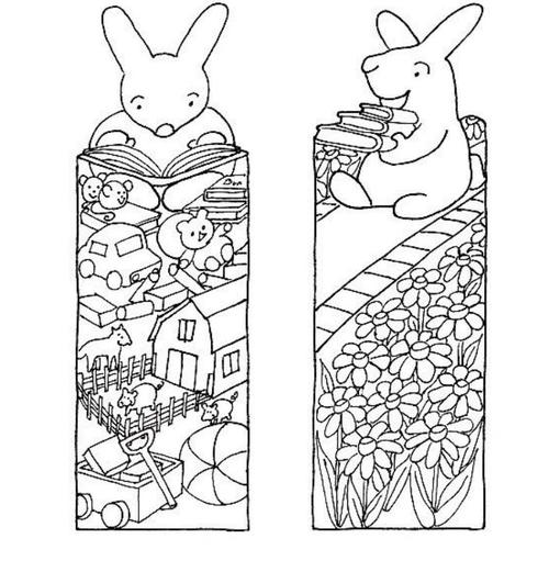 Little Bunny Printable Bookmarks to Color