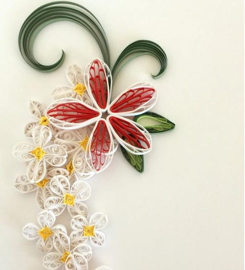 Quilled Paper Plumeria and Lilacs