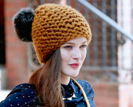 Golden Garter Knit Hat