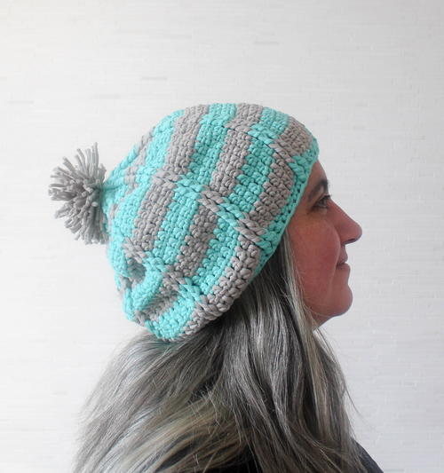 Aqua Ridge Slouchy Hat Crochet Pattern