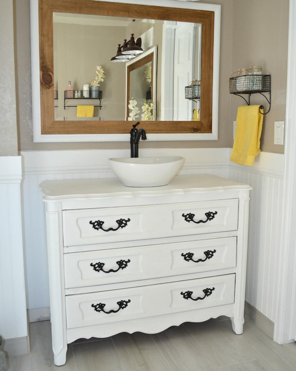 Country Chic Upcycled Bathroom Vanity Diyideacenter Com