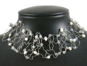 Wonderful Wire and Pearl Choker Necklace