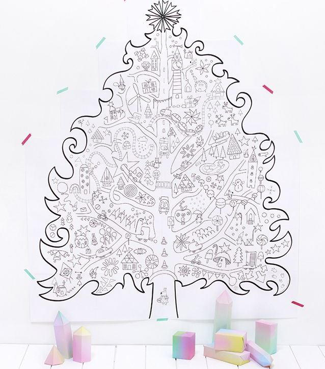 Christmas Trees Colouring Pages: Giant Christmas Tree Coloring Page Wall Art
