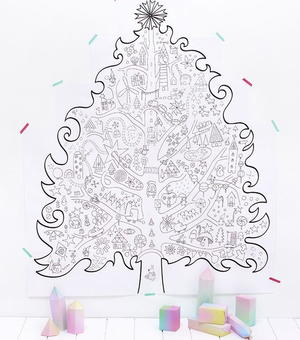 Giant Christmas Tree Coloring Page Wall Art Allfreepapercrafts Com