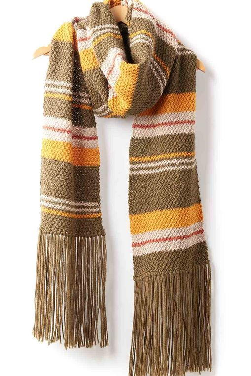 Moss Stripes Simple Knit Scarf