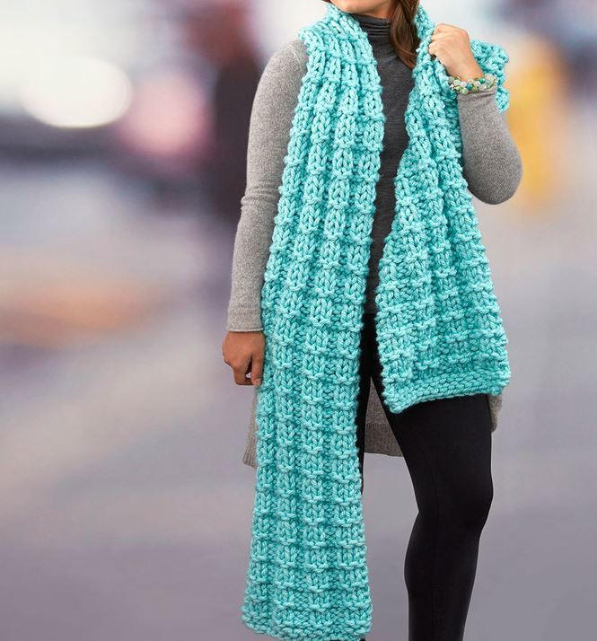 Knitting Scarves Patterns For Charity : Sprawling Seas Knit Super Scarf AllFreeKnitting.com