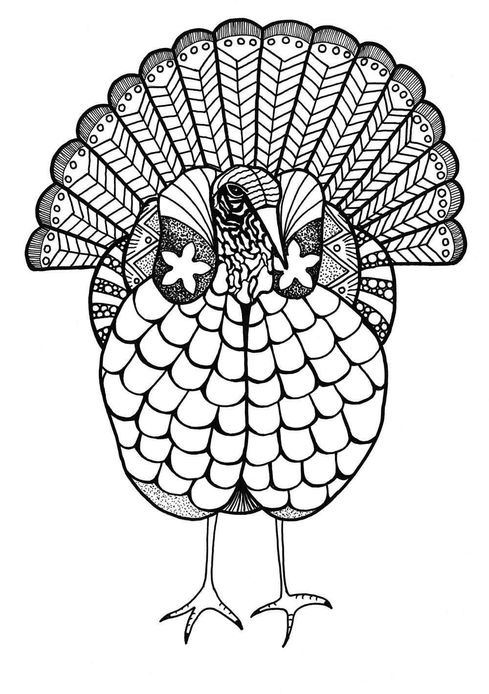 Colorful Turkey Adult Coloring