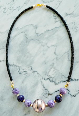 Classy Leather Beaded Necklace