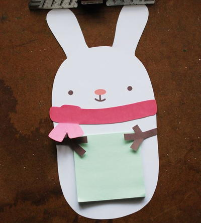 Snuggly Snow Bunny Sticky Note Holder