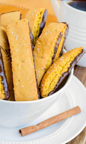 Pumpkin Biscotti Dipped in Chocolate