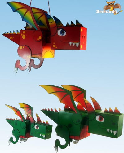 Kuboid Printable Paper Dragons