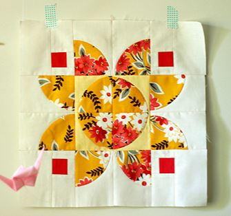 Autumn Lotus Quilt Block