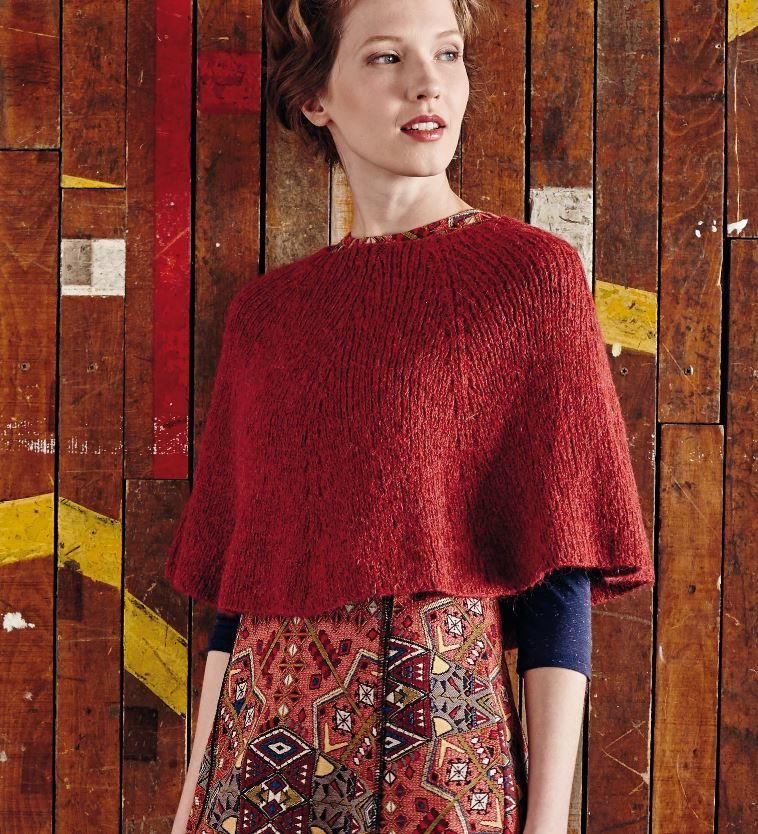 Knitting Pattern Poncho Bulky Yarn : Land of the Rising Sun Poncho AllFreeKnitting.com