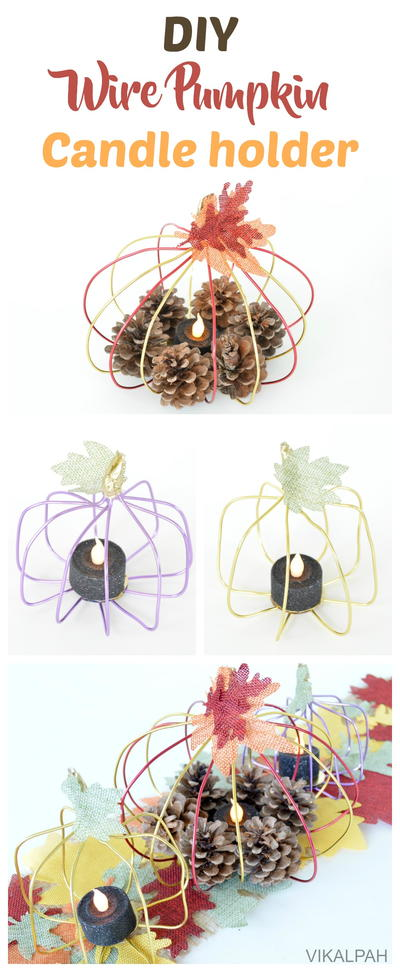 DIY Wire Pumpkin Candle Holder