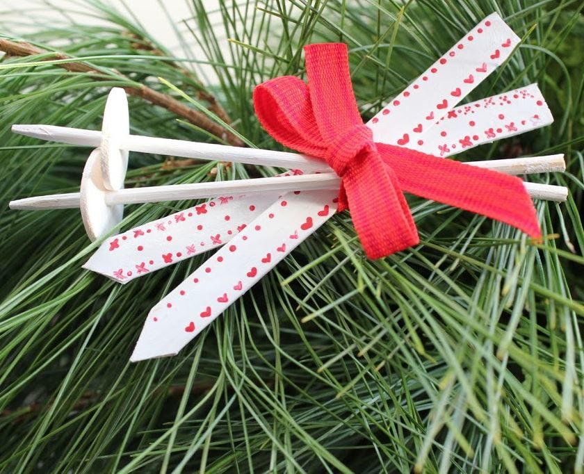 Scandinavian Ski Popsicle Stick Ornaments