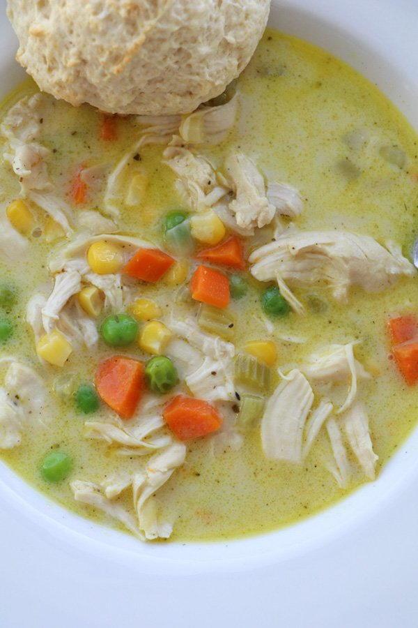 Quick and Easy Chicken Pot Pie Soup | FaveSouthernRecipes.com