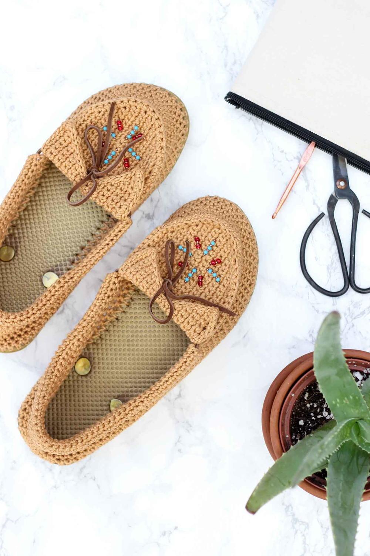 Crochet Moccasins With Flip Flop Soles Favecrafts Com