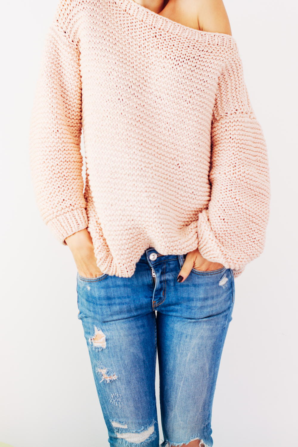 Knit A Sweater Easy : Peachy keen oversize knitted sweater allfreeknitting