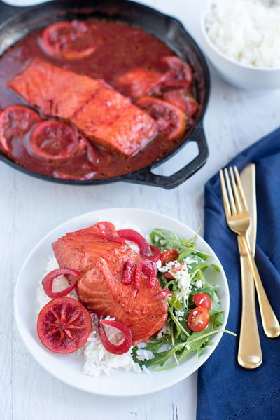 8-Minute Beet Juice Poached Salmon