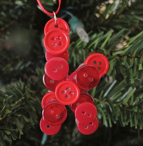Button Initial Christmas Ornament Craft