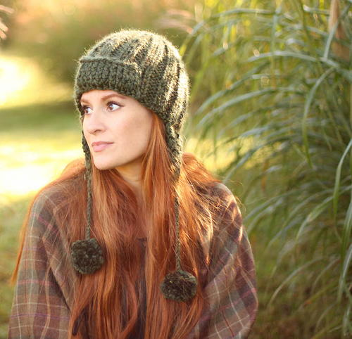 Moss Trapper Hat Knitting Pattern