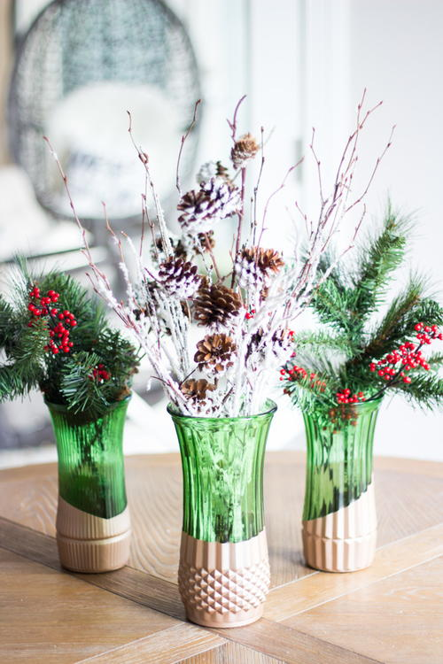 Metallic-Dipped Christmas DIY Vase