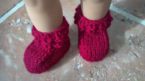 Crocodile Stitch Knitted Baby Booties