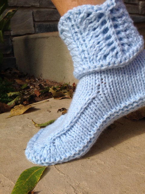 Free Knitting Pattern For Easy Slippers With Cuffs : Cuffed Knitted Slippers Pattern FaveCrafts.com