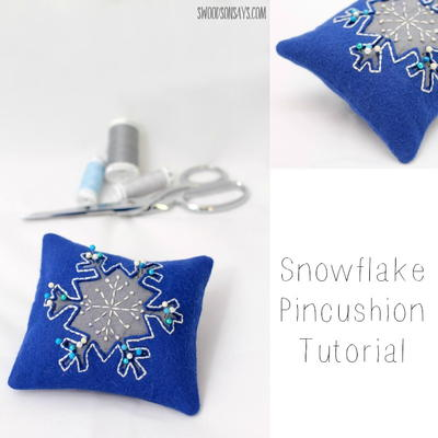 Embroidered Snowflake Pincushion