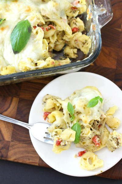 Cheesy Tortellini and Pesto Chicken Casserole