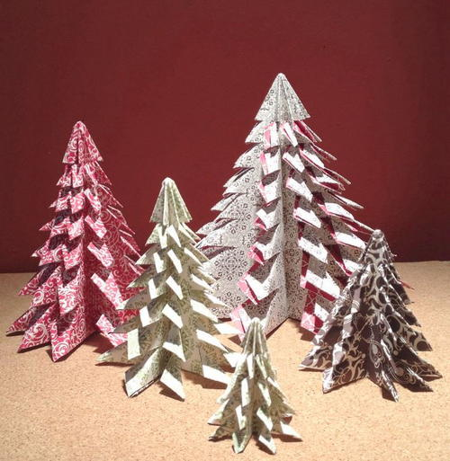 Patterned DIY Mini Christmas Trees | AllFreePaperCrafts.com