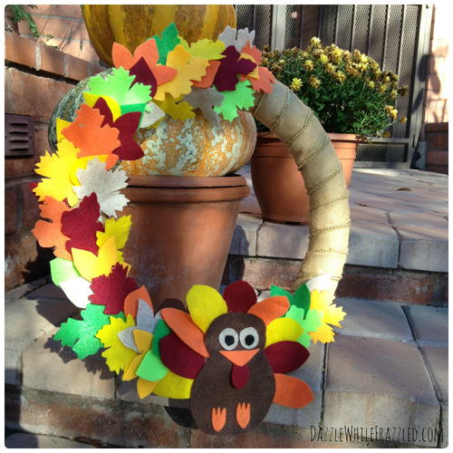 Welcome Turkey Thanksgiving Door Wreath
