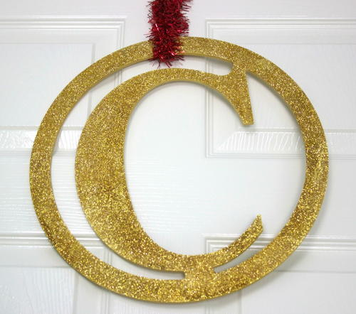 Gold Glitter Monogram DIY Holiday Decor